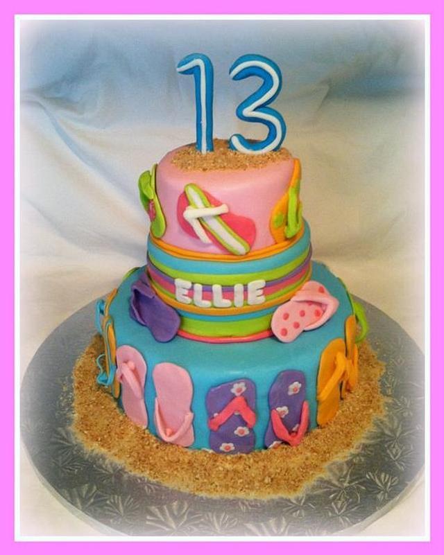 Peachy Flip Flop Themed Birthday Cake Cake By Angel Rushing Cakesdecor Birthday Cards Printable Inklcafe Filternl