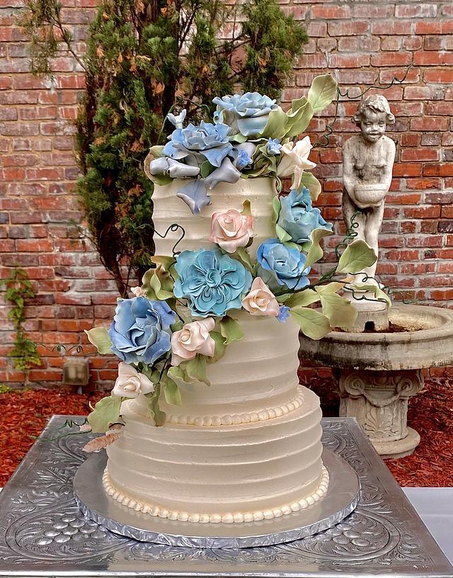 Spring garden wedding cake