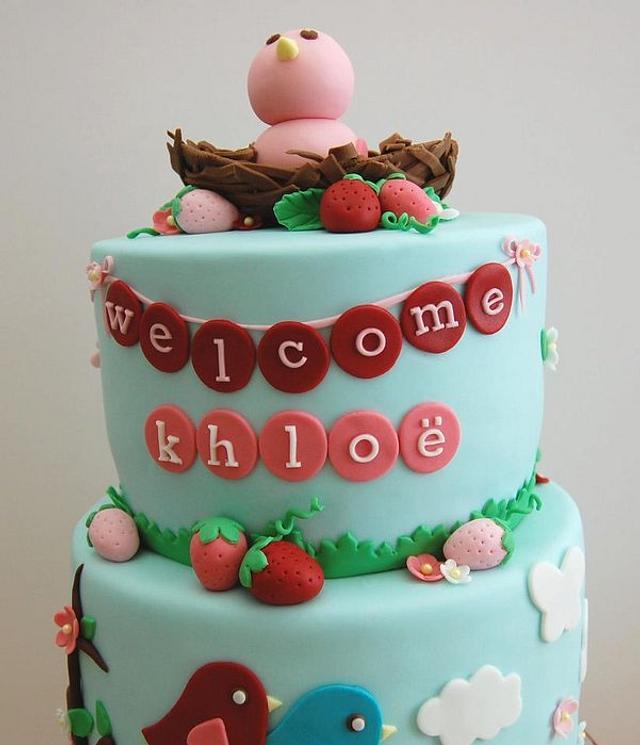 Strawberries and Baby Bird Cake for Katie