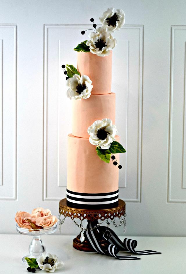 Peach and Black Anemone Wedding Cake