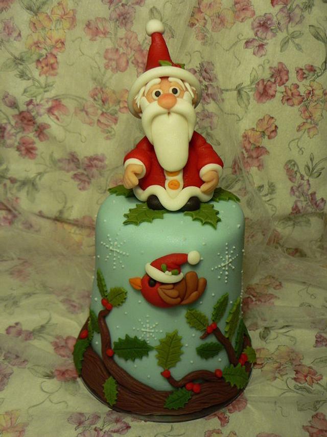 Robin and Santa mini Christmas Cake