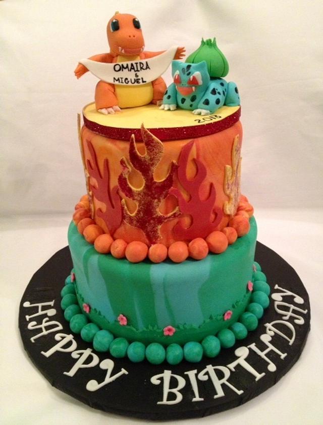 Pokeman, Bulbasaur and Charmander Birthday cake