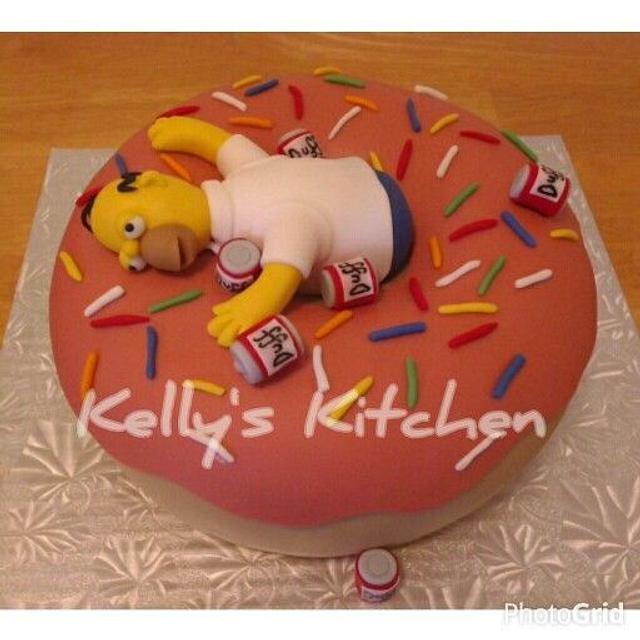 Brilliant Homer Simpson Birthday Cake Cake By Kelly Stevens Cakesdecor Funny Birthday Cards Online Sheoxdamsfinfo