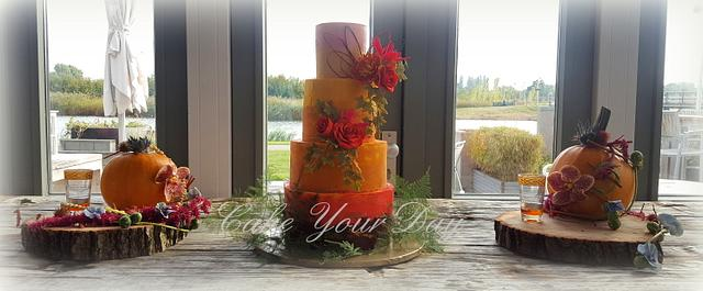 Fall Colors Wedding Cake