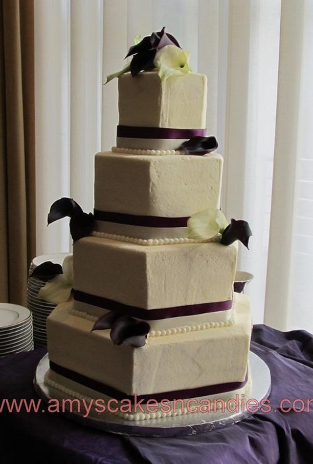 Plum & Cream Cala lilly wedding cake