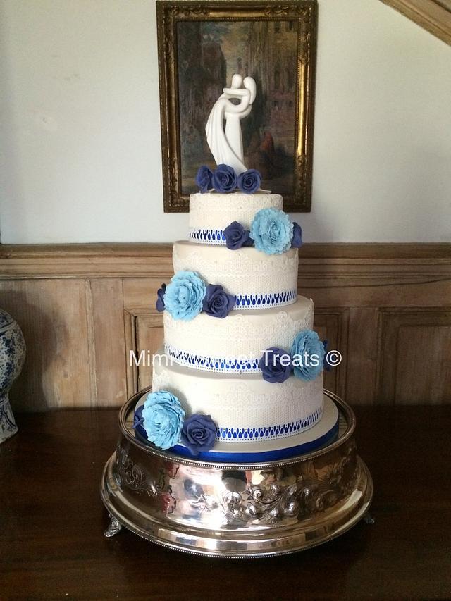 'Something Blue' Wedding Cake