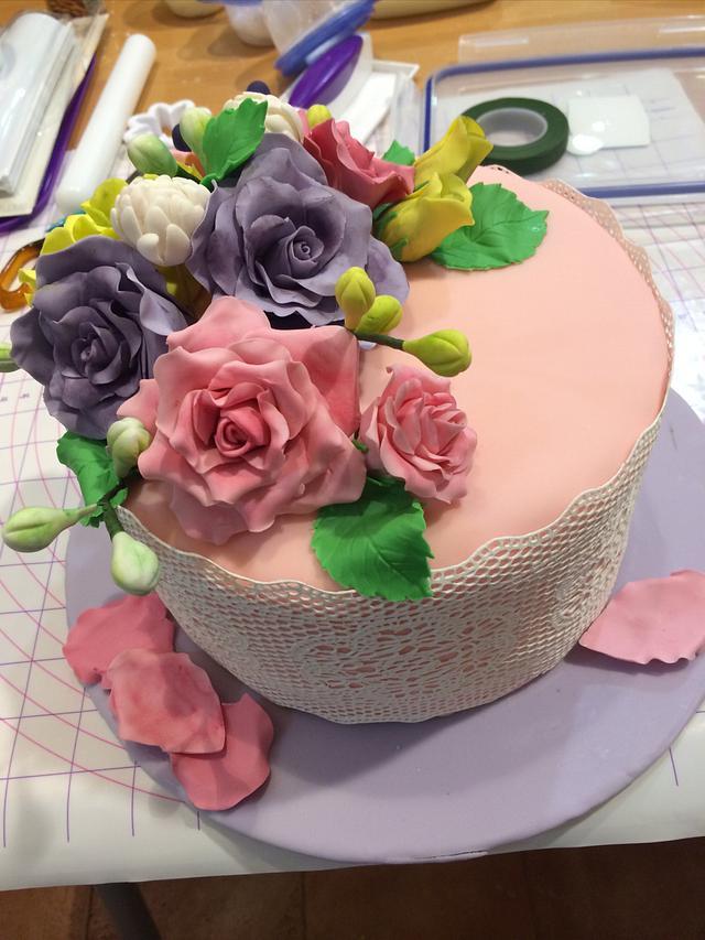 Shabby cake bursting with color