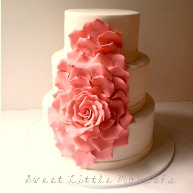 Cascading Rose Petal Wedding Cake