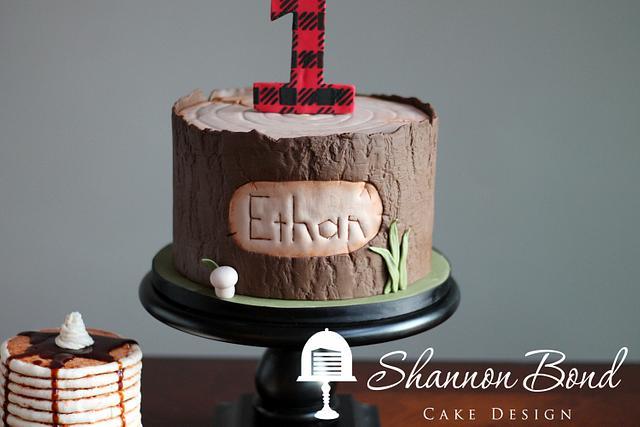Plaid First Birthday Cake