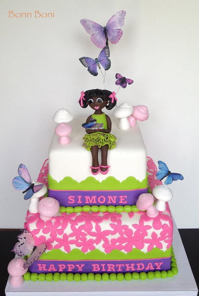 Amazing First Birthday With Butterflies Cake By Bonn Boni Cakesdecor Funny Birthday Cards Online Kookostrdamsfinfo