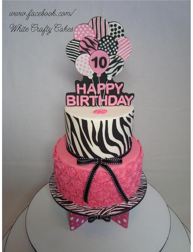 Zebra Stripes and Hot Pink Cake and Cupcake Tower