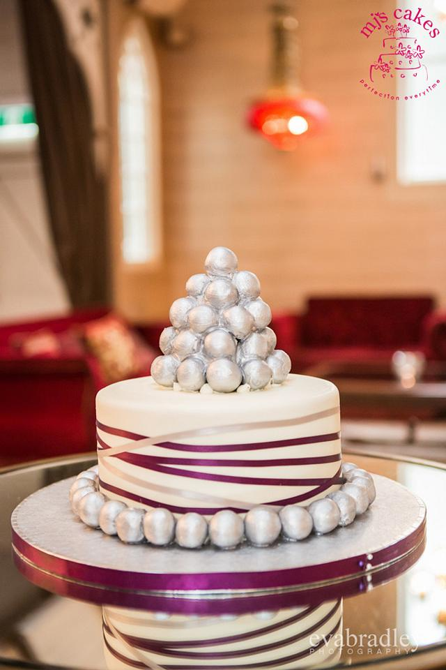Silver truffle tower wedding cake