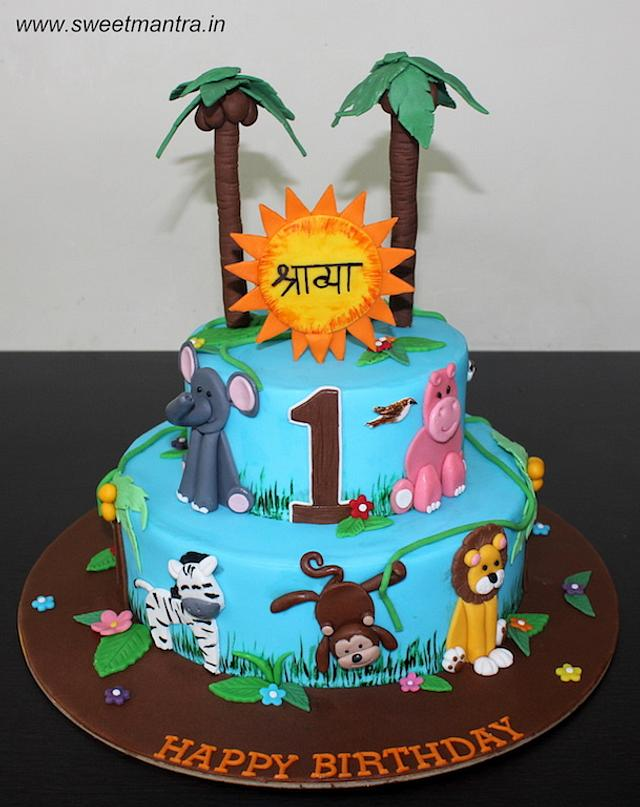 Stupendous Jungle Animals Theme 2 Tier Fondant Cake For Girls 1St Cakesdecor Funny Birthday Cards Online Barepcheapnameinfo