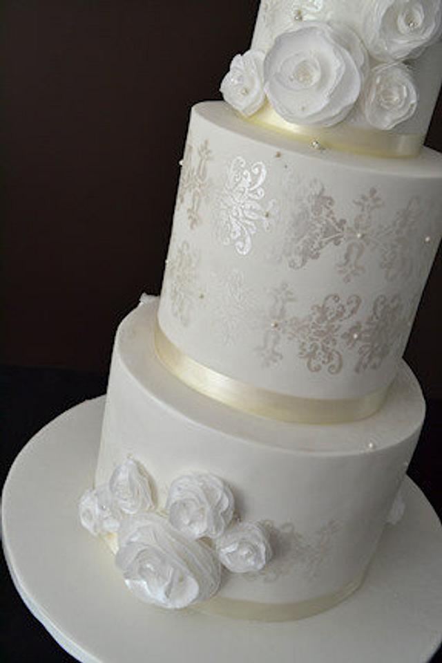 The Sugar Nursery's Wafer Paper Rose Wedding Cake