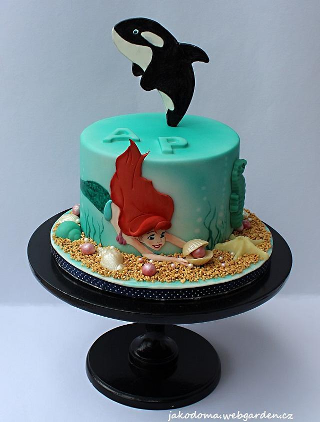 Mermaid and orca cake