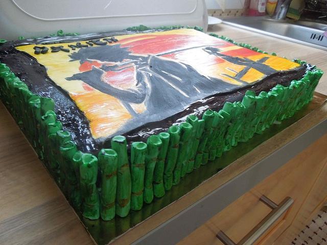 samurai painted cake