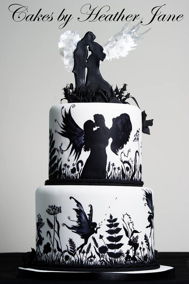 Black and white hand painted fairy wedding cake - Squires Exhibition 2014