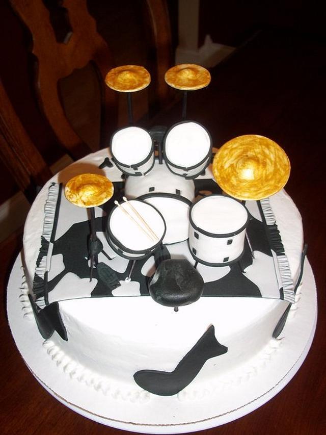 Wondrous Drum Set Birthday Cake Cake By Jackie Cakesdecor Personalised Birthday Cards Paralily Jamesorg