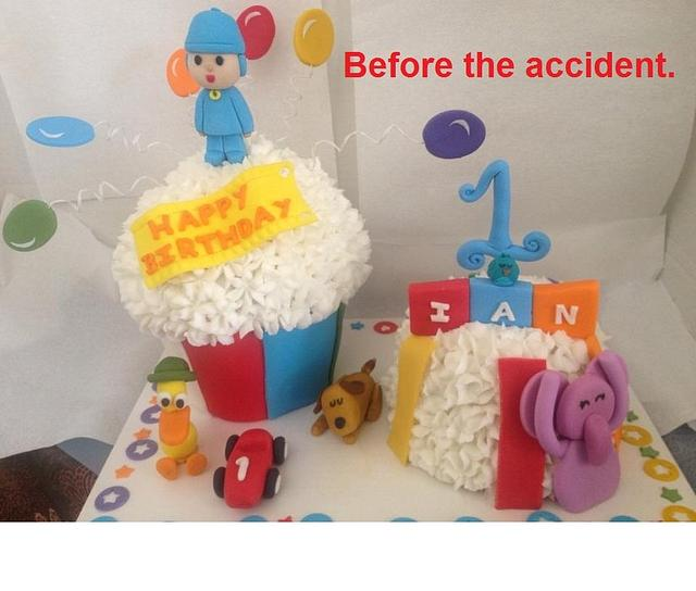 Pocoyo 1st Birthday Cake (a save from disaster)