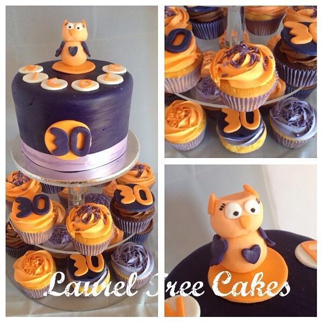 Purple and Orange Cake and Cupcake Tower