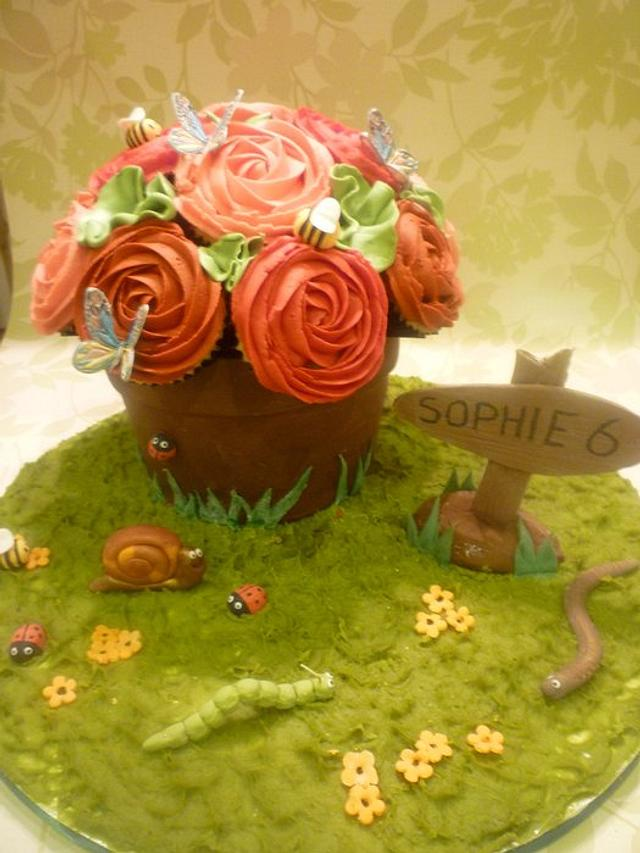 In the garden. Chocolate flower pot and cupcake roses.