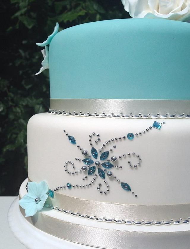 Aqua & White 'bling' Cake