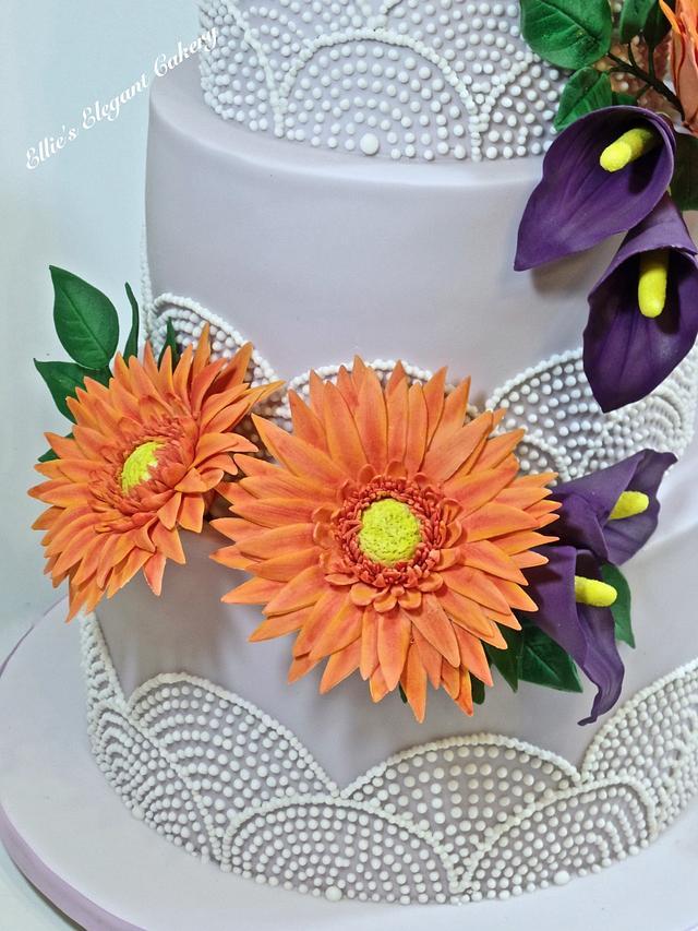 Gerbera and lily wedding cake
