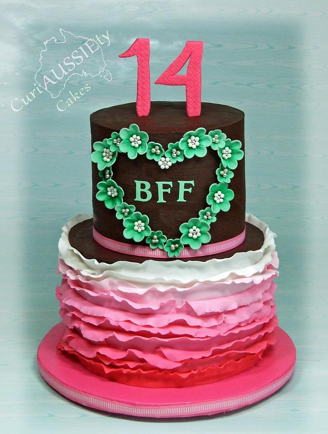 Awesome Best Friends 14Th Birthday Cake Cake By Curiaussiety Cakesdecor Funny Birthday Cards Online Elaedamsfinfo