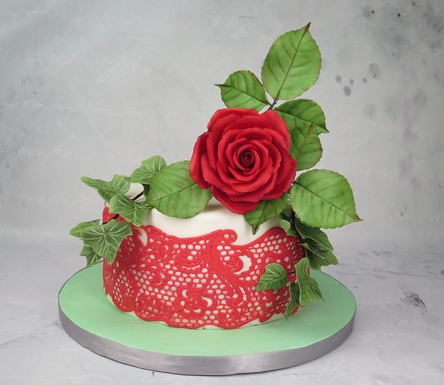 Red rose with lace cake MBalaska