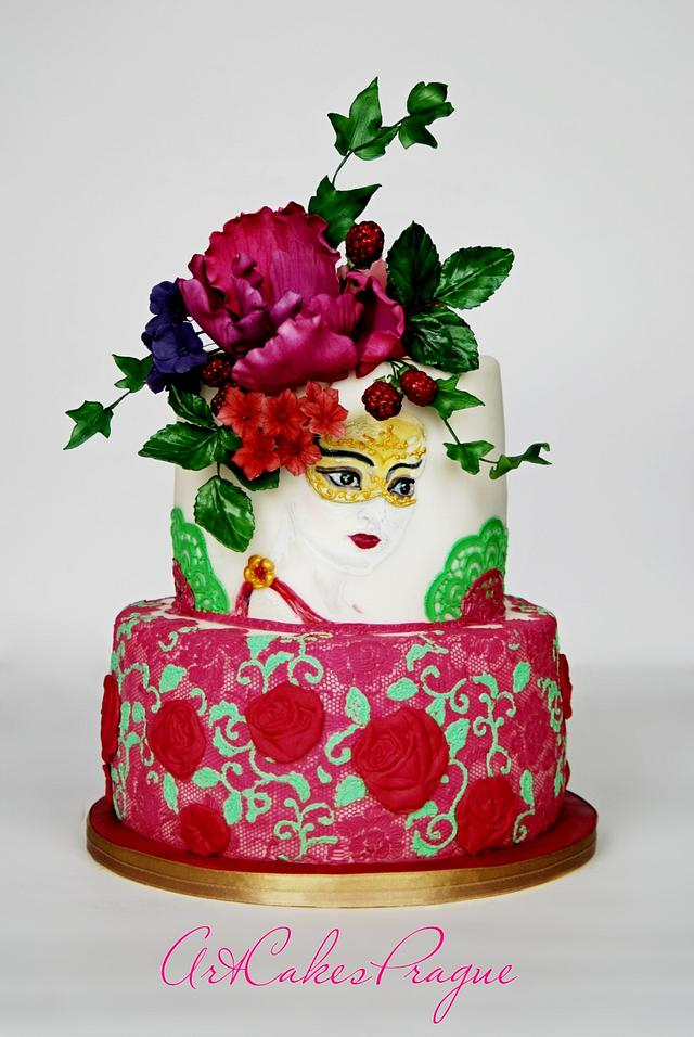 Blooming woman hand painted cake