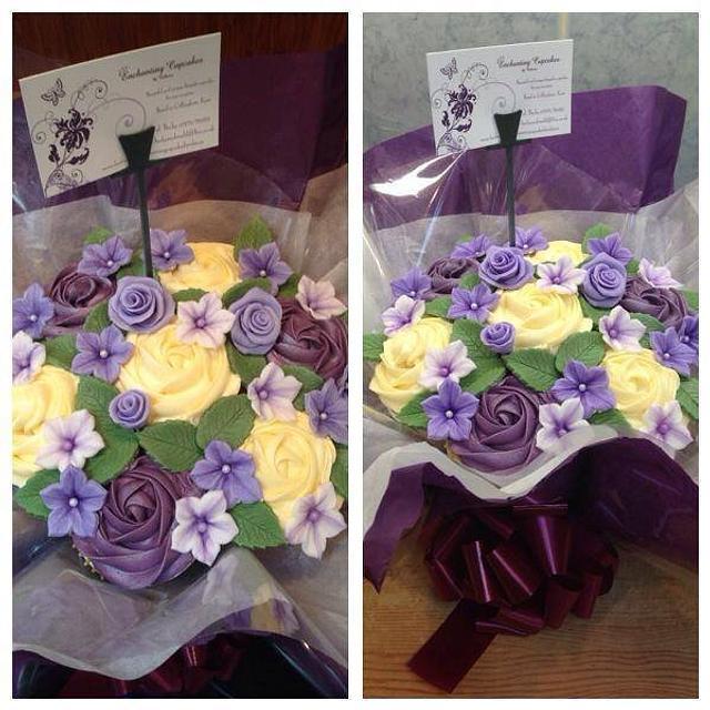 Purple Rose Cupcake Bouquet