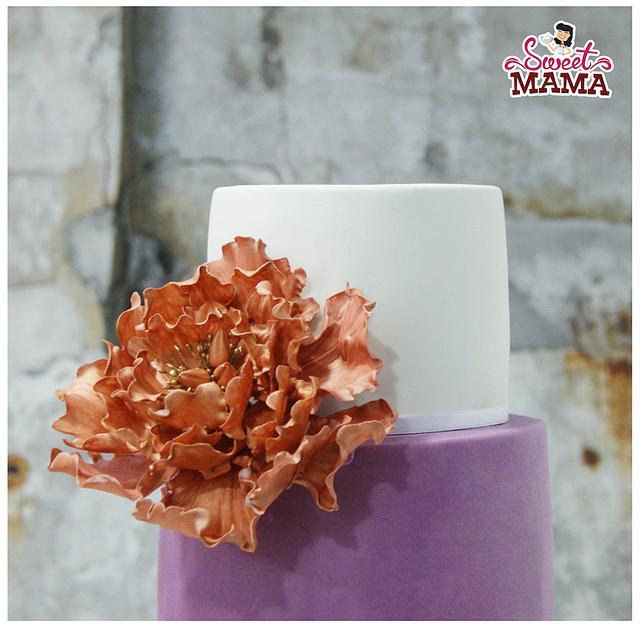 Ruffles and rose gold peony wedding cake