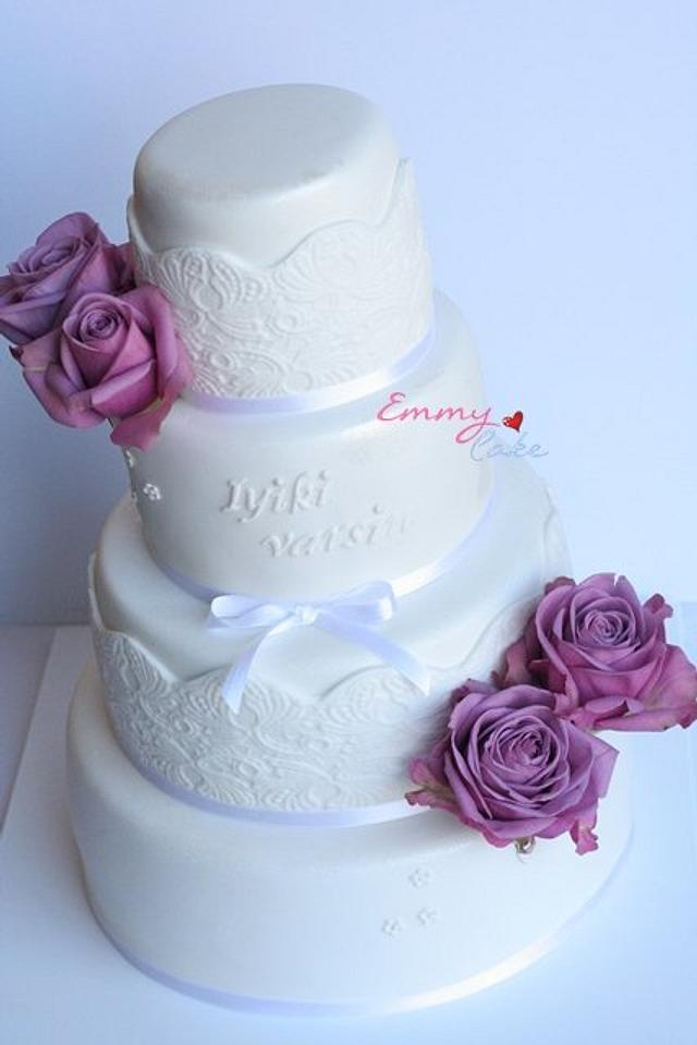 Special birthday cake with purple roses