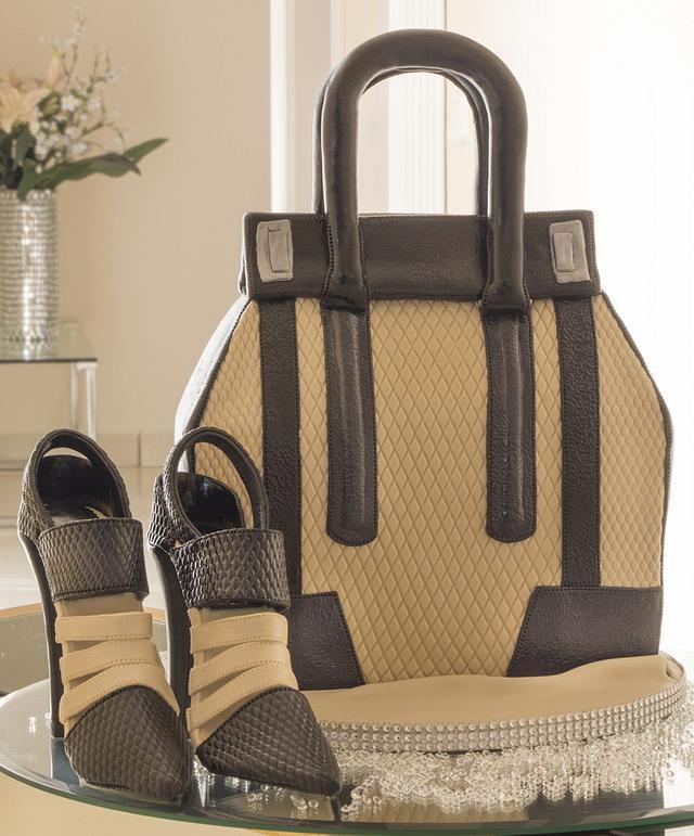 Black & Beige Handbag and Shoe Cake