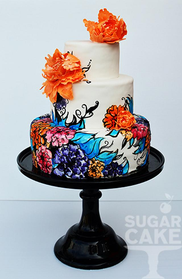 Sugarcake hand painted cake