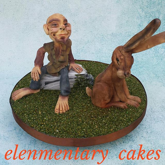 The goblin and his hare ( woodland faries collaboration )