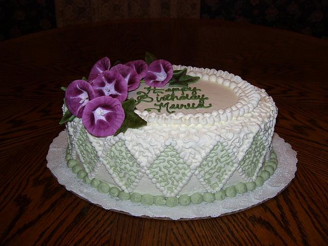 Oval Birthday Cake with Diamonds and Morning Glories