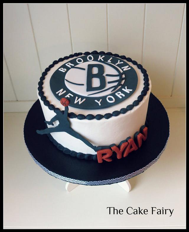 Wondrous Brooklyn Nets Cake With Michael Jordan Silhouette Cake Cakesdecor Personalised Birthday Cards Veneteletsinfo