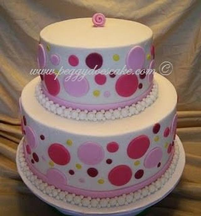 Little Butter Cream Polka Dot Wedding Dake