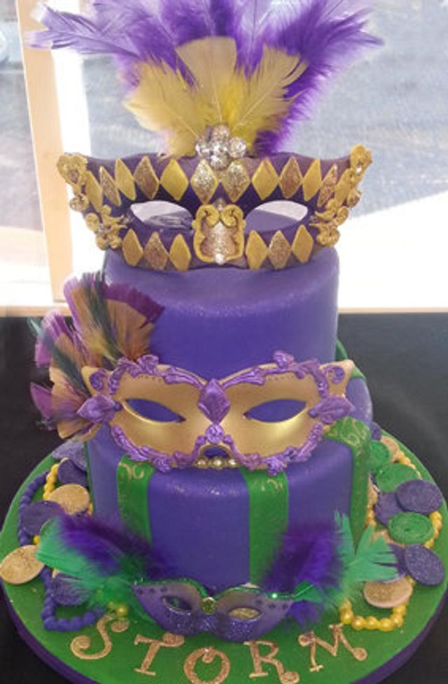Surprising Mardi Gras Cake And Kings Cakes Cake By Cakery Creation Cakesdecor Funny Birthday Cards Online Alyptdamsfinfo