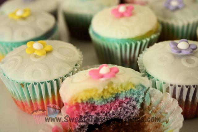 Easter Tie Dye Mini cupcakes with Fondant embossed top