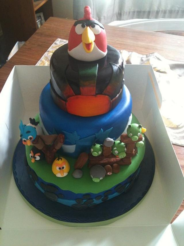 Sensational Angry Bird Birthday Cake Cake By Joanne Harris Cakesdecor Funny Birthday Cards Online Overcheapnameinfo