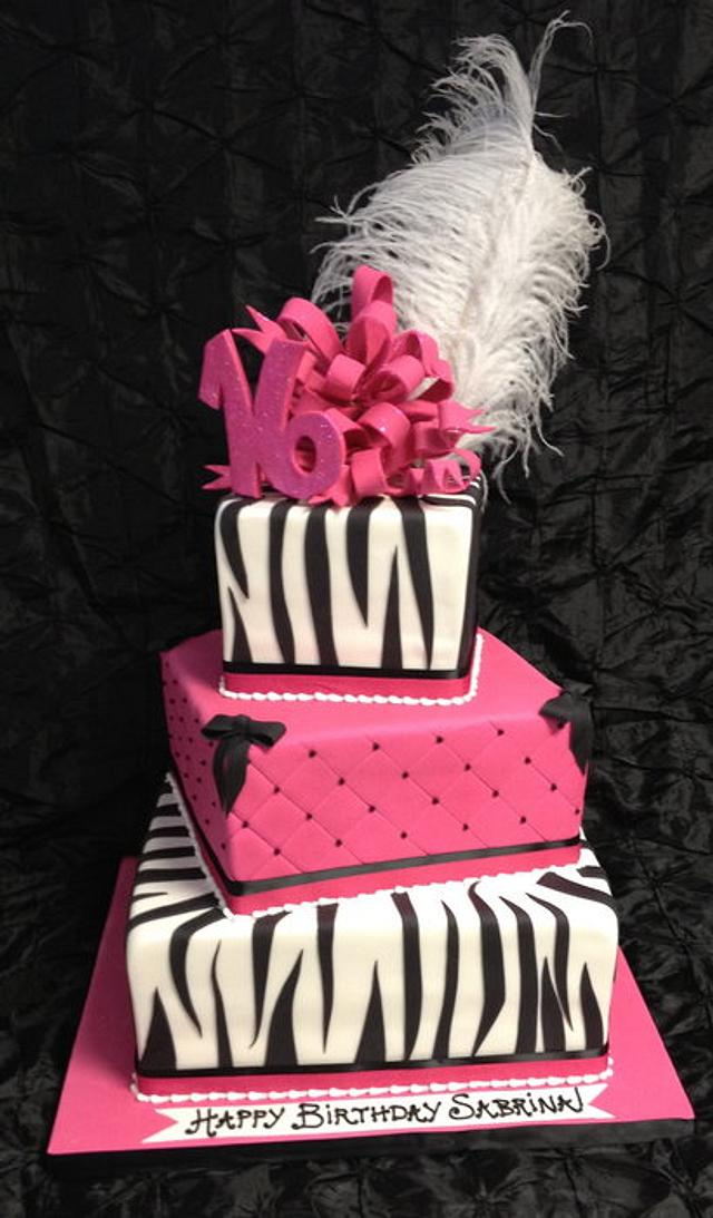Sweet 16 Pink & Zebra three tier box cake