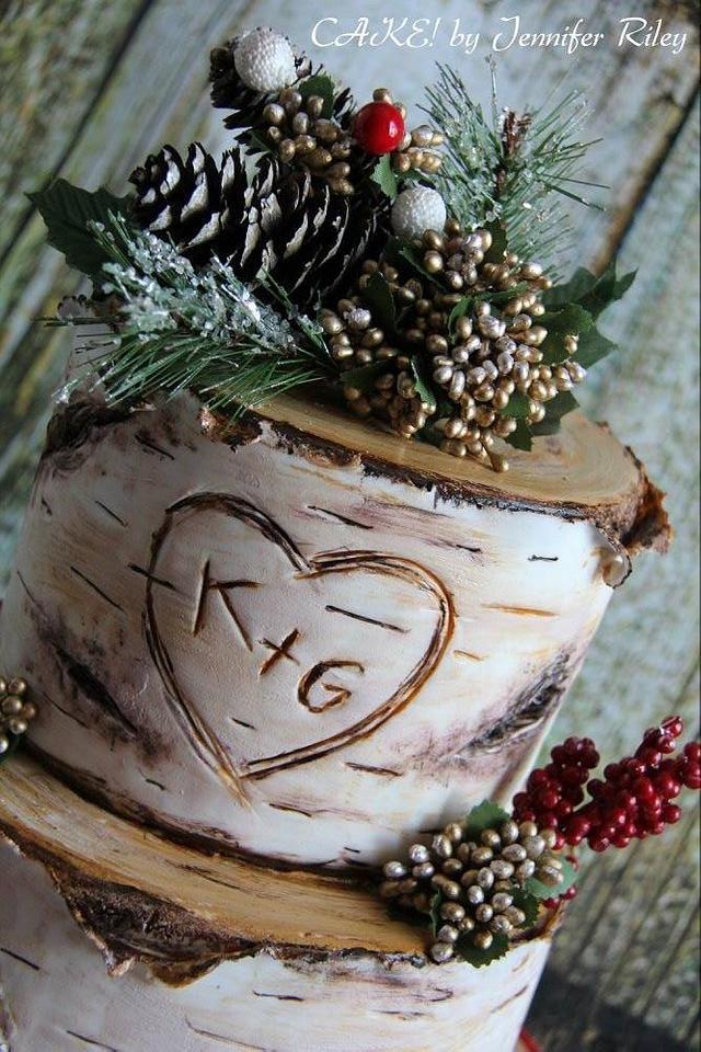 Christmas Themed Birch Cake