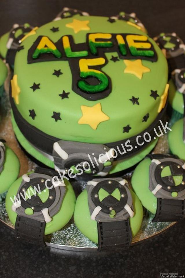 Ben 10 cake and Ben 10 omnitrix cupcakes