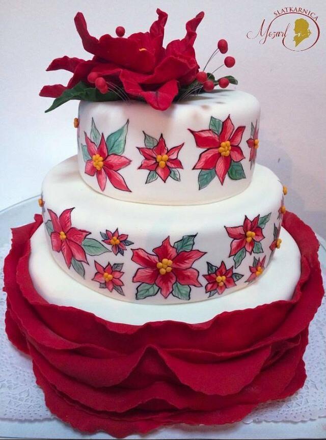 Christmas flowers birthday cake