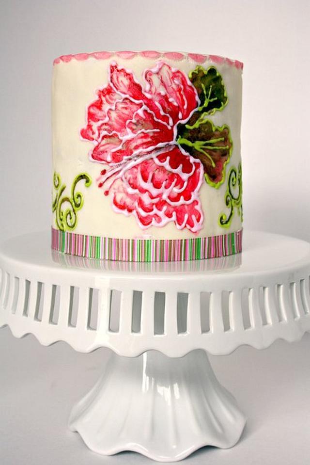 Painted Peony Cake