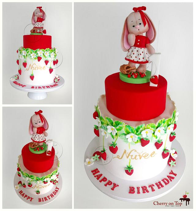 Most adorable and the cutest birthday cake ever!!! Strawberry Bunny Cake
