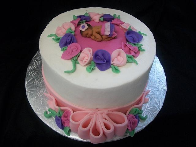 Ribbons and Roses Baby Shower Cake