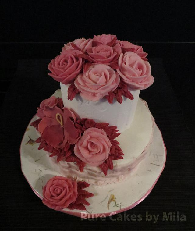 Buttercream Burgundy Roses and Pansy